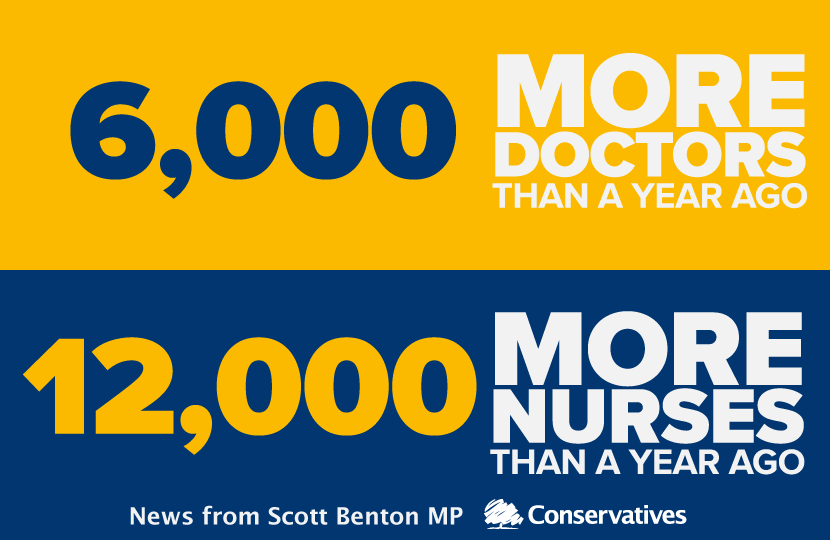 Scott Benton MP welcomes new figures showing a record numbers of doctors and nurses working in our NHS